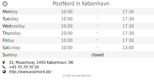 Postnord København Opening Times 32 Mozartsvej Tel 45 70 70